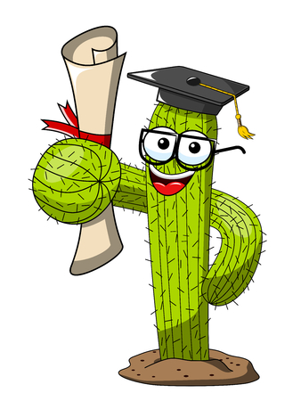 Cactus cartoon funny character vector graduated degree success isolated on white