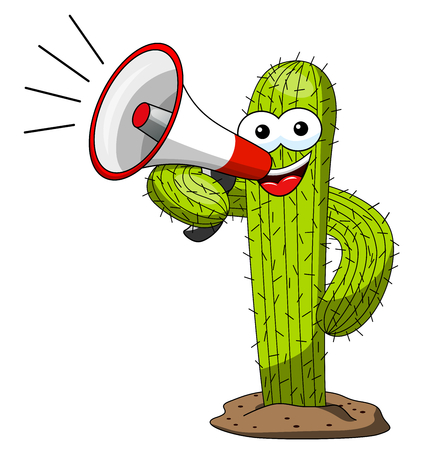 Cactus cartoon funny character vector speaking megaphone isolated on white