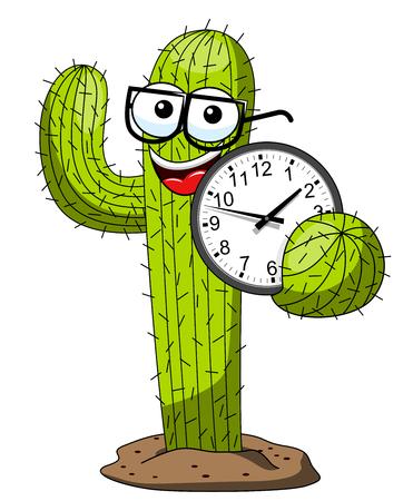 Cactus cartoon funny character vector nerd holding clock isolated on white Ilustración de vector