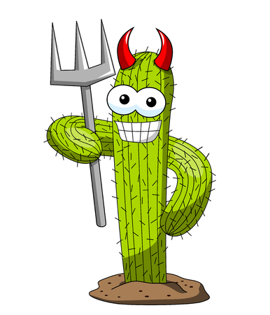 Cactus cartoon funny character vector devil costume trident horned isolated on white