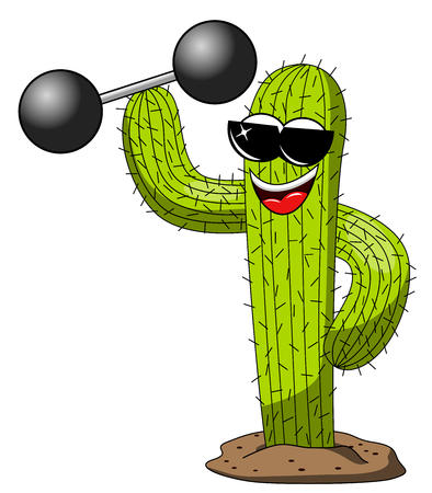 cactus cartoon funny character cool weightlifter power isolated on white
