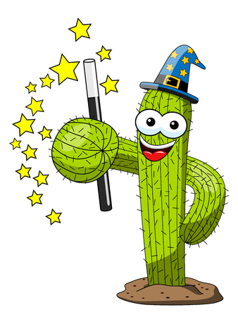 cactus cartoon funny character magician sorcerer isolated on white