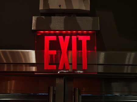 Exit sign red light neon