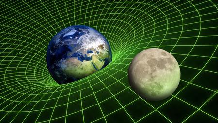 Campo de gravedad curva espacio-tiempo relatividad Tierra Luna Planetas