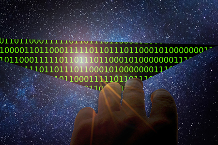Hand opening space discovering digital binary code simulation Foto de archivo - 120089316