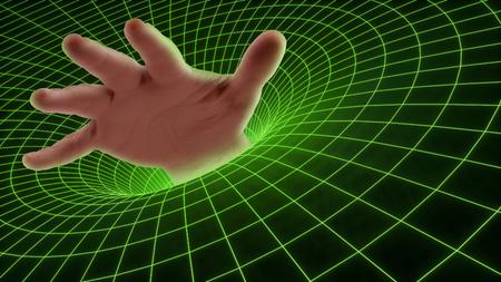 hand drowning in a technology cyber black hole Standard-Bild