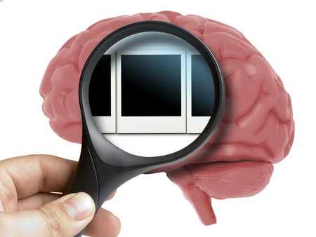 Human Brain Analyzed with magnifying memories polaroid snapshots inside isolated on white