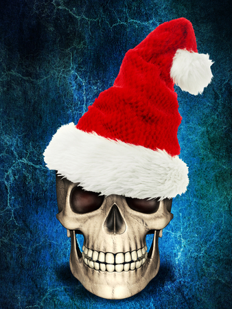 Human skull wearing xmas or christmas hat on spooky background. It can be used for Boring holiday or old celebration concept Stock Photo
