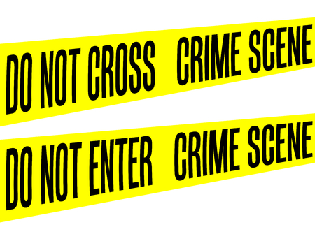 Tape Yellow Barrier Crime scene do not enter or cross collection vector isolated on white Stock Photo