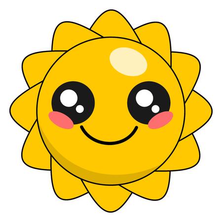 Cute sun kawaii face vector illustration design isolated on white Illustration