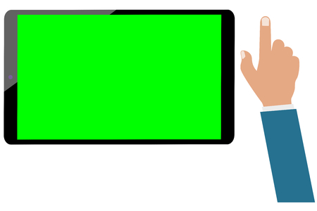 Tablet computer green screen and businessman hand isolated. Set ready for be animated
