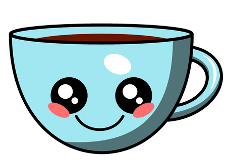 Cute cup of coffee kawaii face vector illustration design isolated on white Illustration