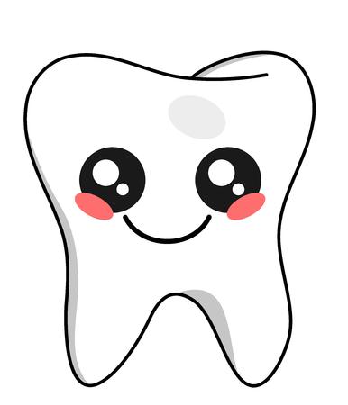 Cute teeth kawaii face vector illustration design isolated on white