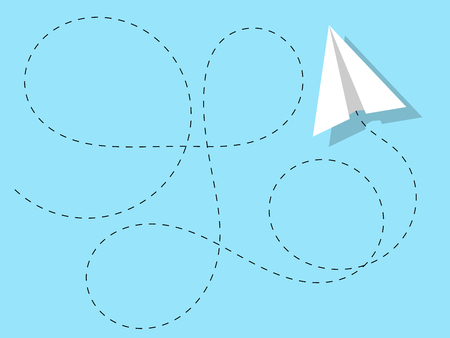 Airplane paper acrobatic trajectory blue clear solid color sky isolated