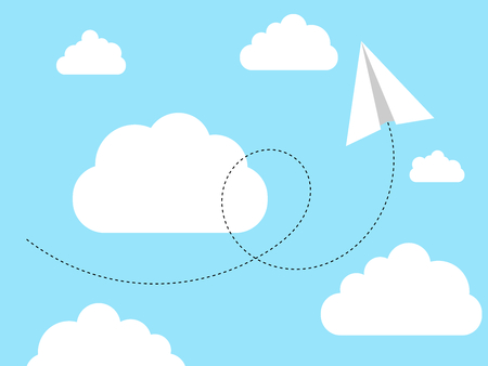 Flat illustration of Airplane or plane paper flying sky among clouds