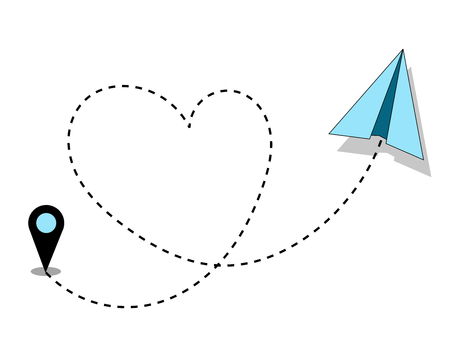 Travelling Concept Love. Airplane paper flying route heart shaped landmark
