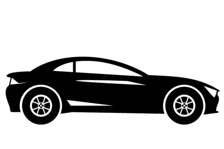 Silhouette modern sport car side view isolated on white Illustration