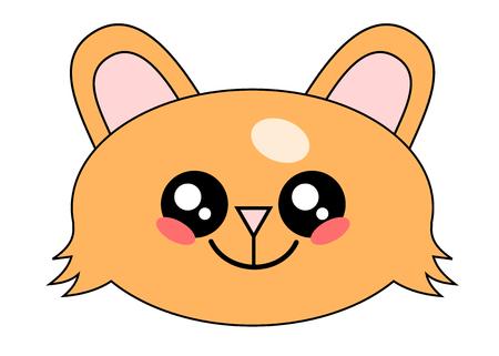 Cute Kitten or cat face kawaii face vector illustration design isolated on white Illustration
