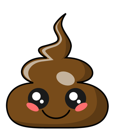 Cute shit or poo kawaii face vector illustration design isolated on white Banco de Imagens - 120089668