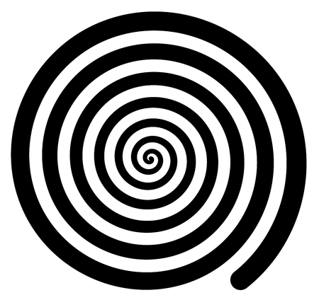 Hypnotic Spiral background spinning rotating retro isolated on white Illustration