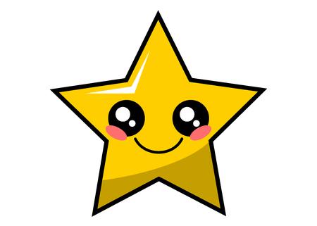 Cute star kawaii face vector illustration design isolated on white