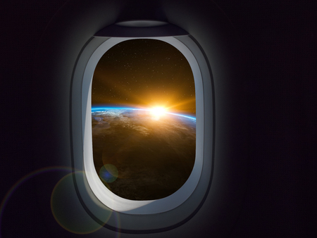 Travel Space Commercial concept. Airplane or spaceship window looking at earth planet