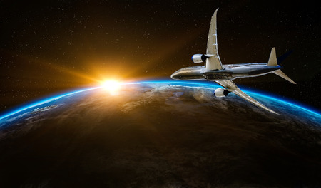 Airplane flying over the Earth planet. Flight outer space commercial tourism concept.