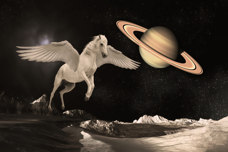 Pegasus winged legendary white horse flying with spread wings in the outer space or universe planets Stok Fotoğraf