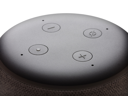 Smart speaker closeup 360 degrees looping on white Banco de Imagens
