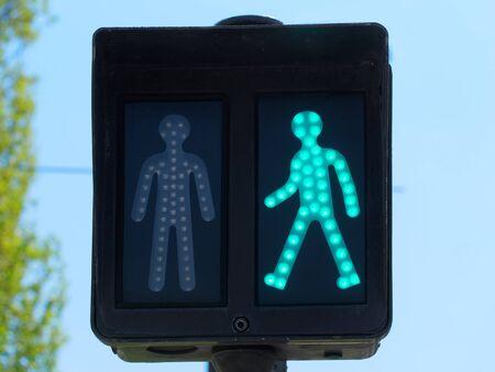 Pedestrian traffic lights Closeup view. Фото со стока