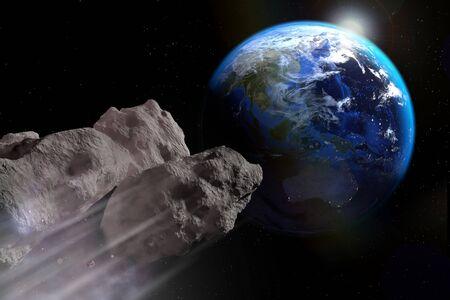 El asteroide está a punto de impactar en la superficie de la tierra.