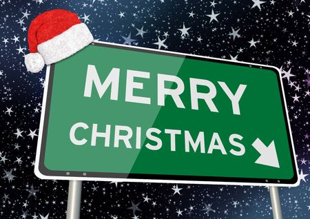 merry christmas or xmas on signpost or billboard against starry sky at christmas or xmas night. Concept Image