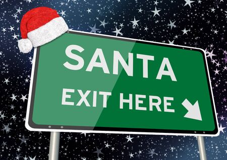 Santa exit here on signpost or billboard against starry sky at christmas or xmas night.