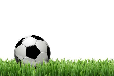 soccer ball or football ball on green grass isolated on white background