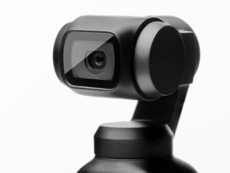 Tiny camera with gimbal closeup isolated. Reklamní fotografie