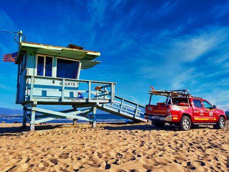 Santa Monica, USA - August 2019: Baywatch tower and pickup car California America Stock Photo
