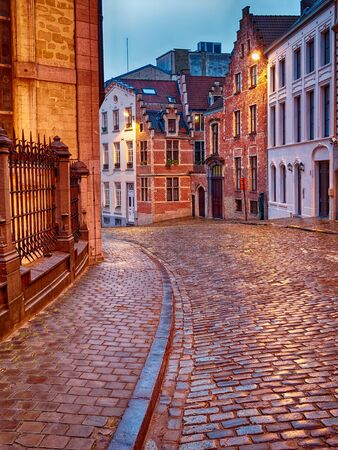 Old Streets of Bruxelles Belgium illuminated at dusk or dawn Standard-Bild