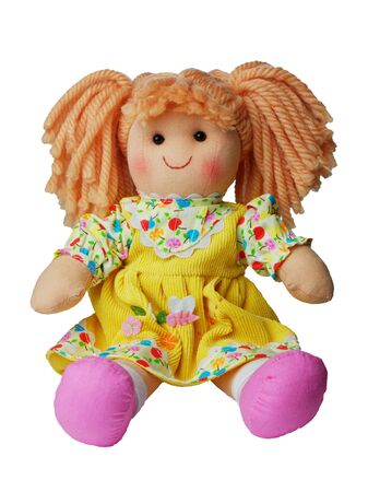 Smiling rag doll isolated.