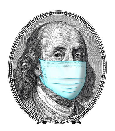 one hundred dollars portrait of Benjamin Franklin wearing Face Masks for virus Protection isolated