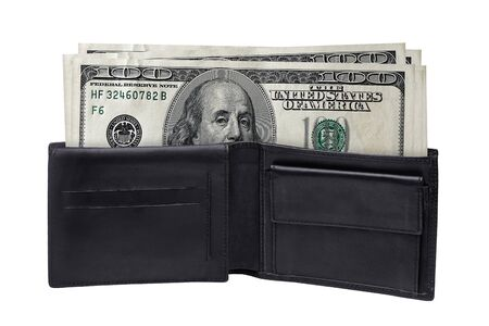 open black feather wallet full of one hundred american dollar bills isolated on white