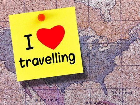 I love travelling on postit on corkboard map
