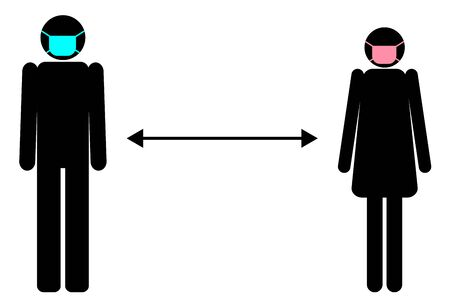 man woman silhouette wearing face surgical mask distance icon flat vector isolated