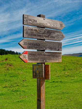 Wooden signposts on a route in the mountain in summer.