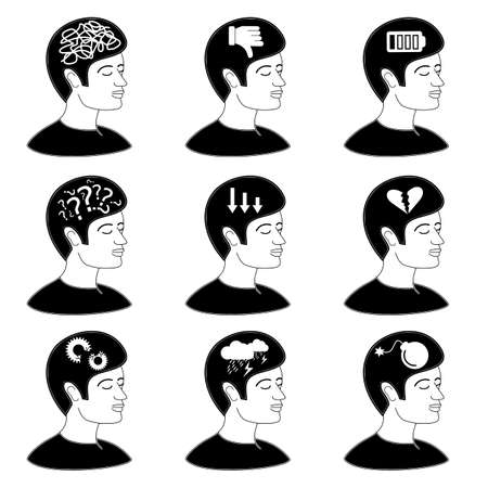 Collection of human mind issues icon concept depression confusion pessimism vector