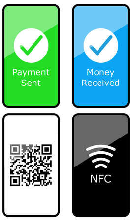 Collection smartphone electronic payment contactless NFC qr code isolated on white vector illustration