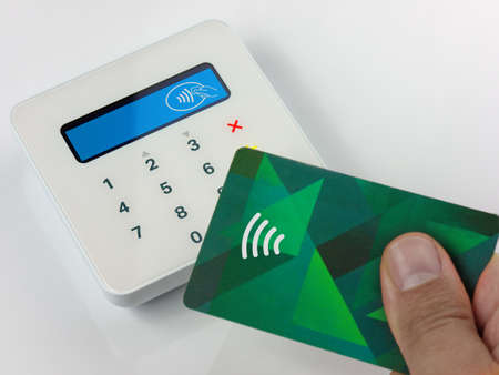 Close Up Contactless payment by credit or debit card successful payment