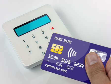 Closeup Contactless payment by credit or debit card succesful payment 版權商用圖片