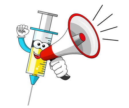 Smiling cartoon character mascot medical syringe vaccine megaphone announcement vector illustration isolated Vector Illustration