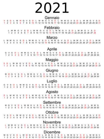 Calendar 2021 Italian holidays marked