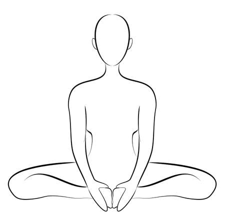 woman yoga position lineart sketch drawing vector isolated illustration Ilustrace
